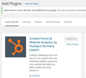 Hubspot Free Marketing Tool WordPress plugin